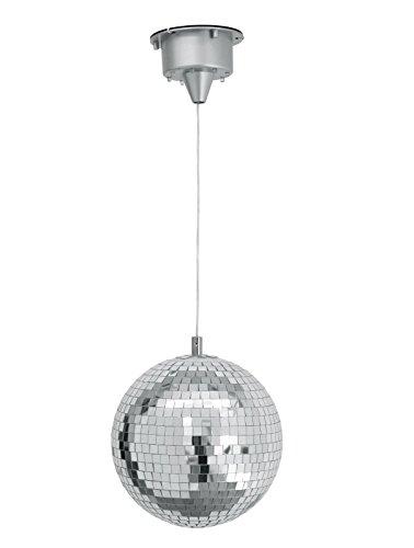 showking Set aus 2 x Discokugel Starsky mit Motor und LEDs, Ø 20cm, Silber - drehende Disco Kugel mit Lichtern