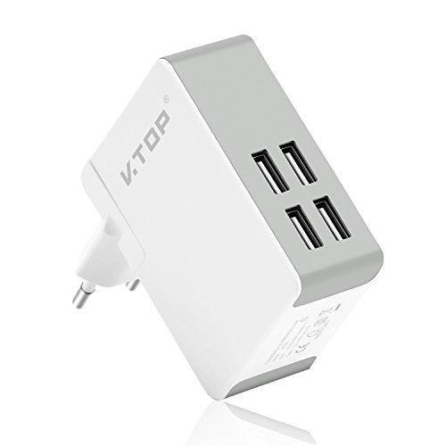 Caricatore USB da Muro Multiplo - 4 Porte Adattatore Multiplo UK,EU Caricatore per Viaggi Internazionali - Caricabatterie USB da Muro per iPhone,iPad,Smartphone,Tablet e Altri dispositivi (40W/8A)