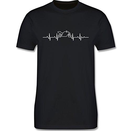 Motorräder - Herzschlag Motorrad - M - Schwarz - L190 - Herren T-Shirt Rundhals
