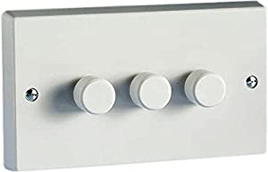 Varilight Classic White Plastic 3 Gang LED Trailing Edge Dimmer Switch 1 or 2 Way from VARILIGHT