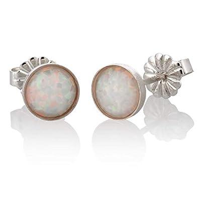 Boucles d'oreilles en argent sterling avec opale blanche ronde, 6 mm, minimaliste