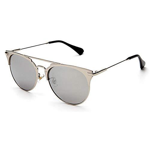 Yiph-Sunglass Sonnenbrillen Mode Retro Metall voll umrandeten Sonnenbrillen Unisex-Erwachsene UV-Schutz farbige Linse Outdoor Fahren Reisen Sommer Strand (Farbe : Silber)