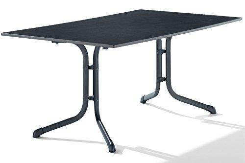 Sieger 1180-55 Boulevard-Klapptisch mit Puroplan-Platte 165 x 95 cm, Stahlrohrgestell eisengrau, Tischplatte Schieferdekor anthrazit