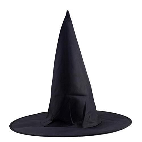 ZahuihuiM Schwarzer Halloween-Hut 1Pcs Erwachsener Frauen-Hexe-Hut für Halloween-Kostümzusatz Lustiger Vampir Horror Zombie Hexe Teufel Outfit deko kostüm für Halloween-Partei (Freie Größe, Schwarz)
