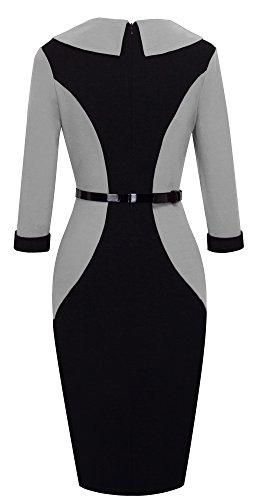 HOMEYEE Der eleganten Farben Block Revers 3/4 der Frauen formales Büro Damen tragen Kleid B354 Grau