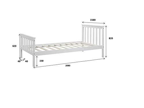 Home Detail Wooden Bed Frame White Double King Single Size Solid Pine (King Size 5FT)
