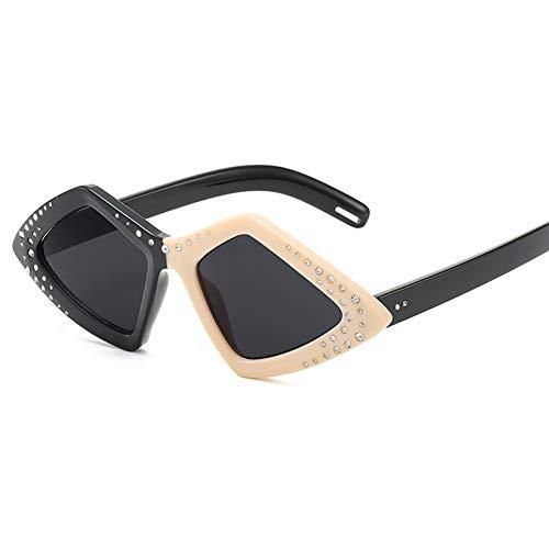 Taiyangcheng Polarisierte Sonnenbrille Polygon Sonnenbrille Frauen Retro Niet Markendesigner Gradienten Sonnenbrille Männer Damen Shades Brillen,schwarz weiß schwarz