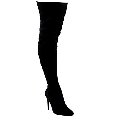 Viva Donna Lungo Moda Pizzo Indietro Stilettos Vestito Lungo Coscia Alta Tacco Alto Nero