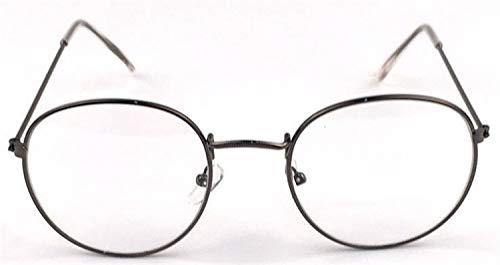 XSHY Designer Woman Brillen Optische Rahmen Metall Runde Brillengestell Klare Linse Brillen Schwarz Silber Gold Brillenglas (Frame Color : Gun)