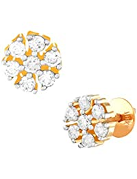 TBZ - The Original 18KT Yellow Gold and Diamond Stud Earrings for Women