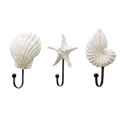 Elecenty Haken Hooks Anzug Kleiderbügel Shell Harz mediterranen Stil Lagerung Inhaber Sea Star Decor Jakobsmuschel Conch Kleiderbügel -