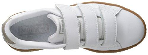 Puma Basket Classic Strap B&W Cuir Baskets Puma White-Vintage Khaki