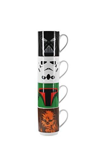 Star Wars Juego de Tazas Darth Vader - Stormtroopers - Boba Fett - Chewbacca - Caja de Regalo - Set de 4 tazónes La Guerra de Las Galaxias Gift Box