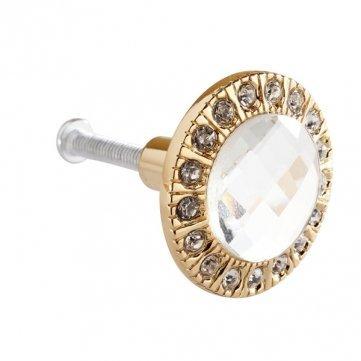 High Quality 3cm Round Drawer Wardrobe Door Handle - Gold