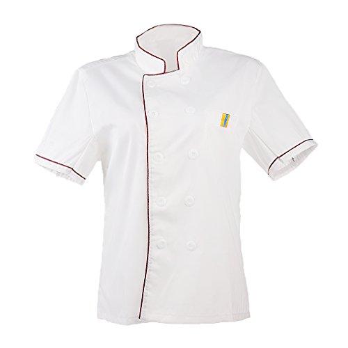 196d7f43296 MagiDeal Chaqueta de Cocina Cocinero Hombre Mujer de Algodón Ropa Trabajo  Hotel Duradero Confortable - rojo