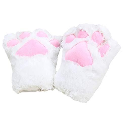 Boomly Winter warm Dick Plüsch Klauenhandschuhe Süße Katze Paw Hand Handschuhe Full Finger Fäustlinge Cartoon-Handschuhe Cosplay Party Kostüm für Männer Frauen Mädchen (Weiß, 23 * 18 * 8CM) (Weiß Cartoon Handschuhe Kostüm)
