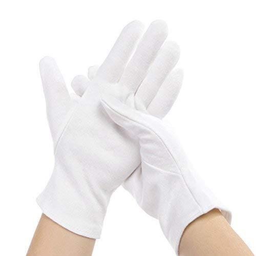 12Stück elastisch, Weiß, Baumwolle, Handschuhe, Feuchtigkeitsspendende Handschuhe Herren Damen
