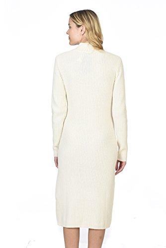 STATE CASHMERE Rollkragenpullover aus 100 % reinem Kaschmir für Damen, langärmliges Pullover-Kleid Elfenbein