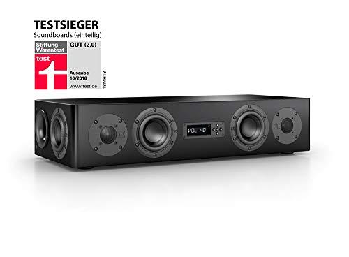 Nubert nuPro AS-250 Soundbar Testsieger | TV-Lautsprecher für Musikgenuss | Soundbase für klare Stimmen | Stereoboard mit 2,5 Wege Technik | aktive Stereobase für Spitzenklang | Sounddeck Schwarz