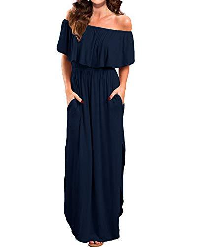 Kidsform Femme Robe Longue d'été Boheme Grande Taille Manches Courtes Chic Maxi Robe de Plage Fleurie Col Bateau Plissé Casual A-Marine 36 EU (Fabricant: Taille S)