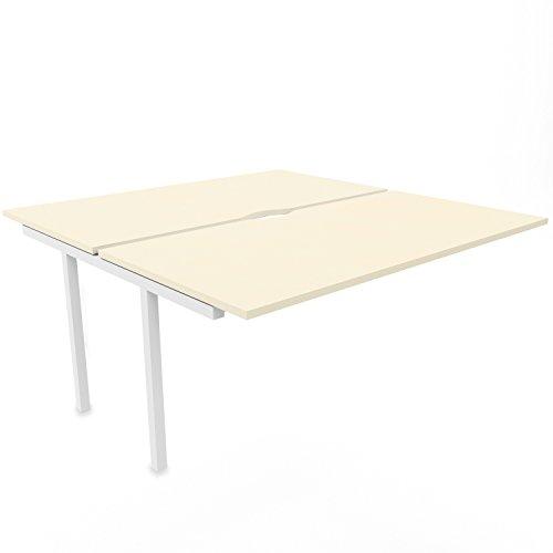 NOVA U 2er Erweiterung für Team-Schreibtisch 1.600 x 1.640 mm in Ahorn, Gestellfarbe:Weiß (Nova-erweiterung)