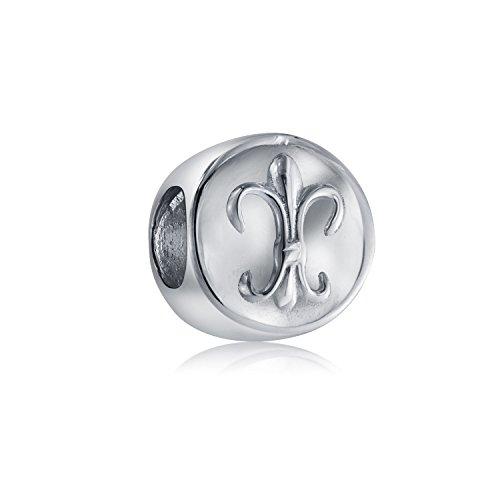 Fleur De Lis Symbolische Blumen Verzierten Charm Bead Charms Für Damen Sterling Silber Passt Europäischen Armband (Fleur Lis De Charme Pandora)