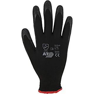 Asatex 3740 7 Latex Glove with Water Repellant Palm, Black, Size 7