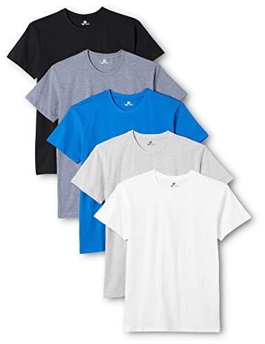 Lower East Herren T-Shirt mit Rundhalsausschnitt, 5er Pack, Mehrfarbig (Weiß/Schwarz/Blau/Grau/Rauchblau), Small