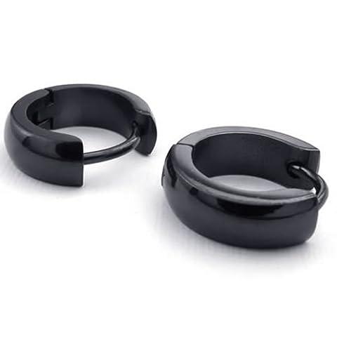 KONOV Bijoux Boucles d'oreilles Homme - Anneaux à Charnière - Acier Inoxydable - pour Homme - Couleur Noir - Avec Sac Cadeau - F22899