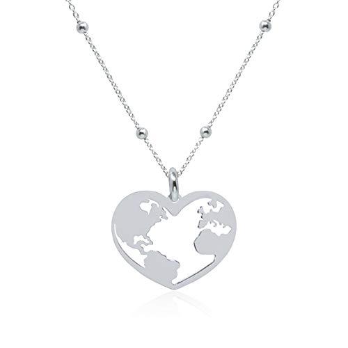 WANDA PLATA Collar con Colgante Mundo con Forma de Corazón para Mujer en Plata de Ley 925, Mapamundi, Globo Terráqueo, Tierra