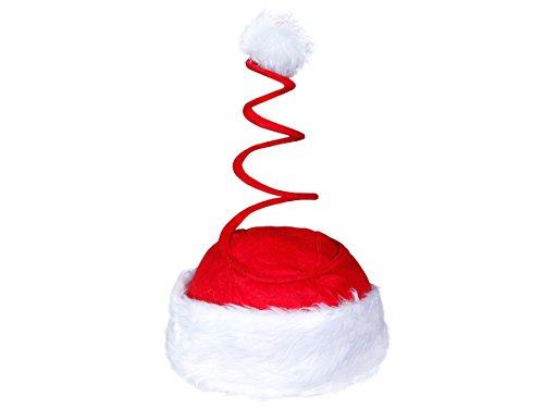 Lustige Weihnachtsmütze Nikolaus Mütze Witzig (wm17) Springende Spirale XMas Bouncing Hat rot mit Plüschrand