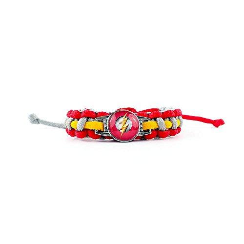 JARL DC Comics - Justice League - Flash - Armband - Armband geflochten (handgefertigt) - Mann Frau - Rot, Gelb und Grau - Einstellbare Größe