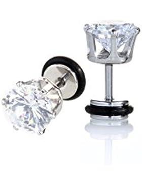1 Paar Fake Ohrstecker Earring Edelstahl - 8mm Ohrpiercing Gummiring Hoch Poliert mit Zirkonia Steinen - 5851S8
