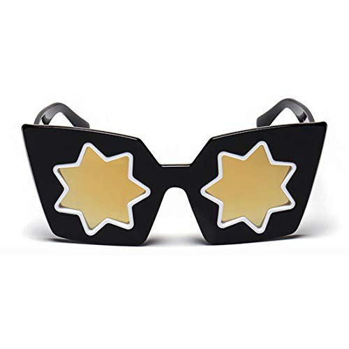 Yiph-Sunglass Sonnenbrillen Mode Persönlichkeit Stern Objektiv UV Schutz Vollformat Sonnenbrille Für Frauen Männer Fahren Im Freien. (Farbe : Gold)