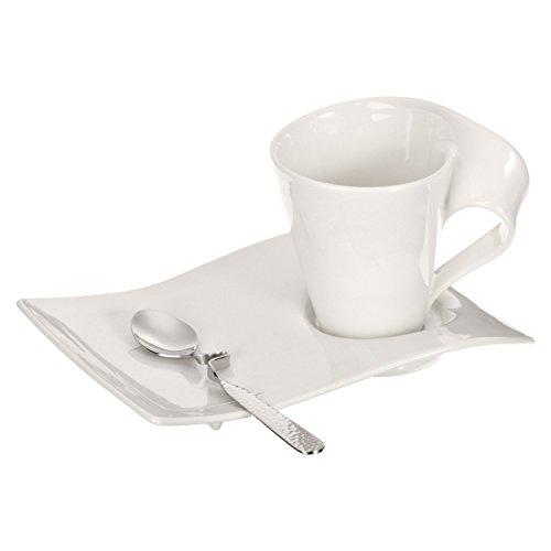 Villeroy & Boch NewWave Caffè Cappuccino-Set, 3-teilig, Premium Porzellan, Weiß