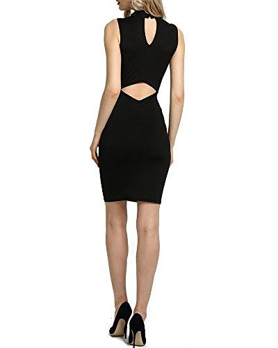 Donna Moda Senza Maniche Corte Vestito Dress Vestito Abito Nero