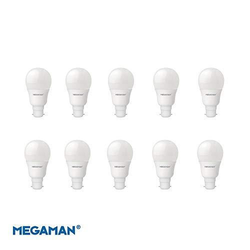 Megaman 143370 LED-Birne, 9,5 W, GLS, B22, BC, 4000 K, kaltweiß, 15000 Stunden Lebensdauer, 10 Stück -