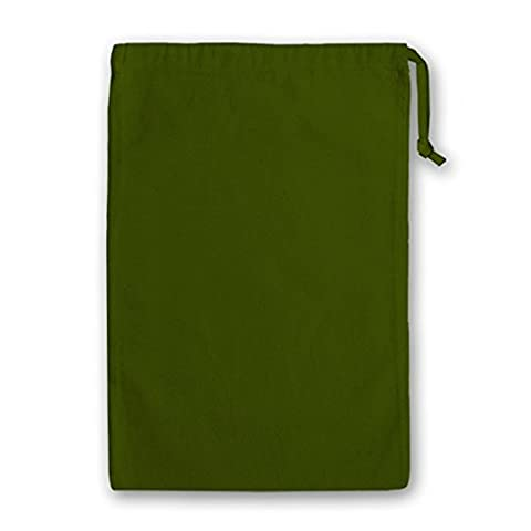 Cotton Drawstring Bags in a selection of sizes and modern, Bright colours (20 cm x 24 cm, Olive)