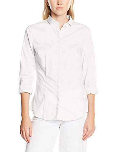 Redford Damen Bluse Slim Fit, Weiß (Weiß 01), 38 (Weiße Blusen Baumwolle)