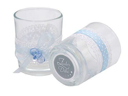 ZauberDeko 2X Teelichtglas Blau Schnuller Spitze Taufe Vintage Tischdeko Deko Baby