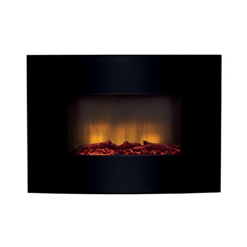 Beldray EH0815 Palma Curved Wall Fire with Log Effect, Black Best Price and Cheapest