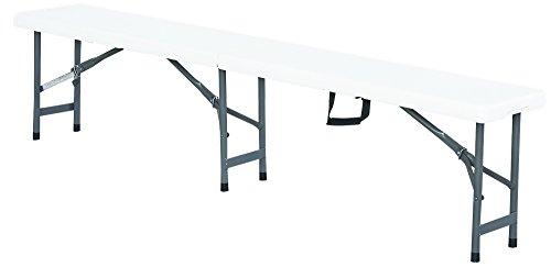 Bank zusammenklappbar Premium 183cm Weiß–Klappbank–Gartenbank–Dicke des Tablett 5,1cm–Struktur Stahl ID–Tragegriff–Bank Koffer–interouge