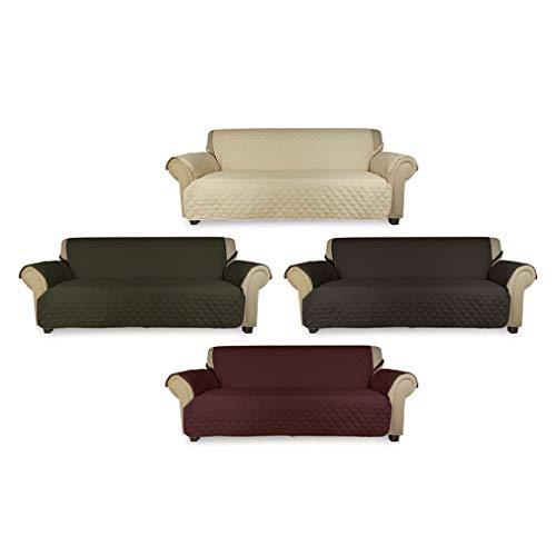 KINLO® Sofahusse 3 Sitzer 167×165 Weinrot Sofa überwurf 100% Baumwolle Füllung - 8