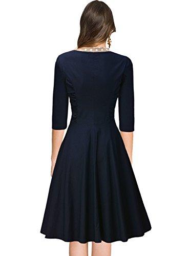 Miusol Damen V-Ausschnitt Schleife Cocktailkleid Faltenrock 50er 60er Jahr Party Stretch?Kleid Blau Gr.L -