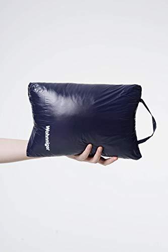 Wohnniger Daunen Decke to-Go (blau), Maße 140x95x5, Kinderdecke, Umhang, Reisedecke, Schulterwärmer, Fußwärmer, 90% Daunen, 10% Federn -