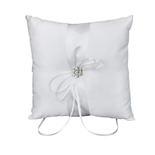 Farmerly Ivory Satin Diamant Flower Wedding Party Ring Pillow Cushion