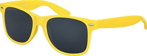 Balinco Hochwertige Nerd Sonnenbrille Rubber im Wayfarer Stil Retro Vintage Unisex Brille mit Federscharnier - 96 verschiedene Farben/Modelle wählbar (Gelb - Smoke)