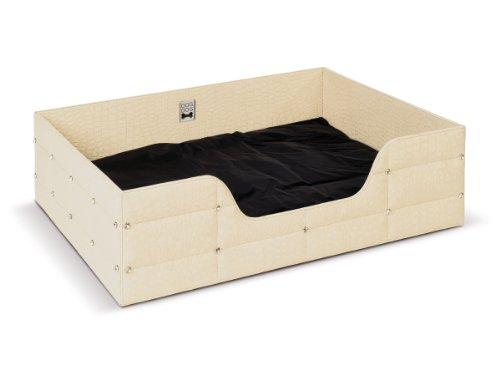 hundeinfo24.de DOGDOG mmrh-m cw Lounge-Bett gesteppt rechteckig, Croco, M, weiß