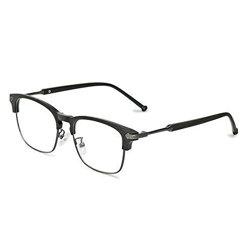 AMZTM Blaues Licht blockieren Brille - TR90 Halbrahmen Quadrat Computer Spiel Brille Optische Brillen Nicht verschreibungspflichtig für Männer Frauen (Holz Rahmen Klare Linse)