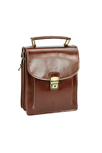 "BELLI® ""Design Bag B Mini"" ital. Ledertasche kleiner Messenger unisex - Farbauswahl - 18x21x8 cm (B x H x T) Maronenbraun"
